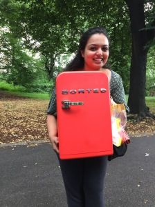 Me with the iconic Sorted mini-fridge!