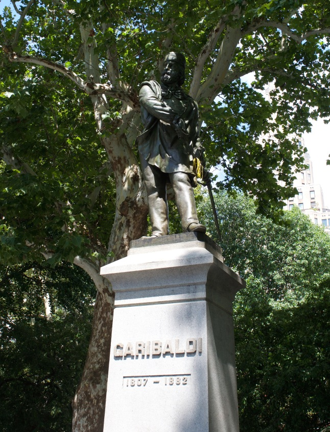 A tribute to Giuseppe Garibaldi, who fought for a unified Italy in the 1800s. Some research tells me that there is an NYU finance new students' tradition of tossing a penny at the base of the statue for good luck.