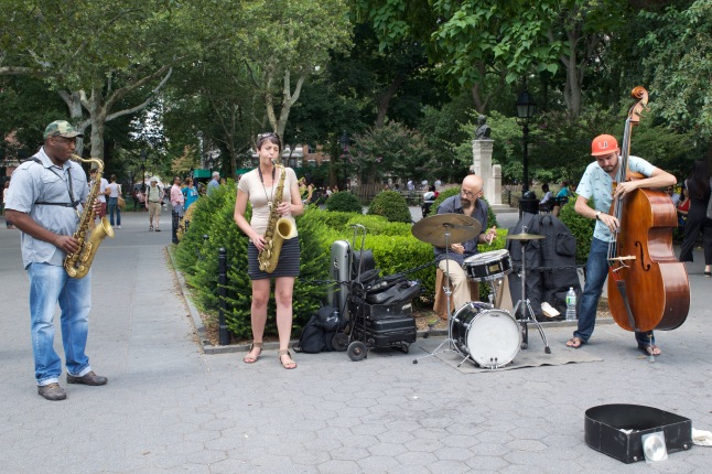 This four-piece band attracted the attention of many passerby.