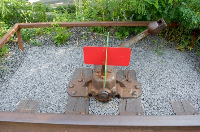 A remnant of the railroad or an art piece? It's unclear.