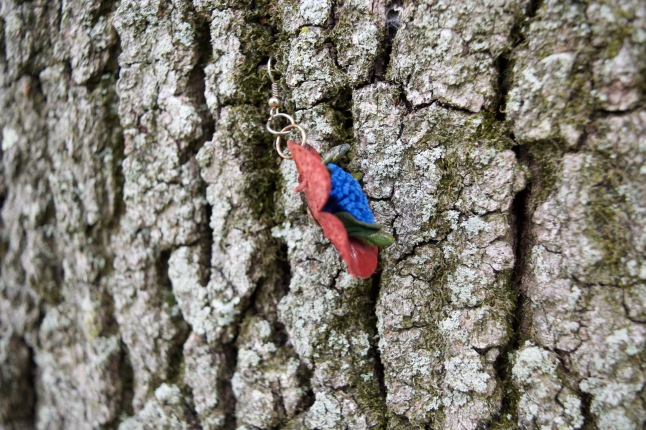 I found this earring dangling from a tree, fluttering in the wind. Clearly someone created their own art.