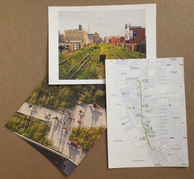 A few postcards I picked up showing the High Line in its various forms – (clockwise from top) prior to opening in 2000, a map showing the entire pathway, people strolling down the boardwalk