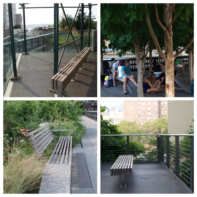 A variety of sitting areas along the High Line, each providing a moment of solace from the bustle of the main walkway.