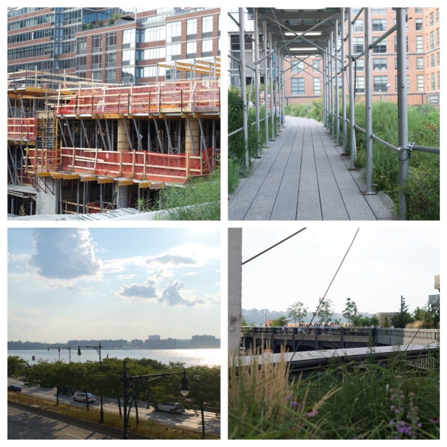 Construction and scaffolding are commonly seen along the High Line, but so are more scenic views of the Hudson River and the West Side Highway.