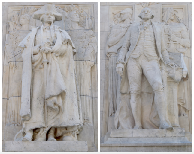 "The back of the arch has two statues of George Washington, called ""Washington at War"" and ""Washington at Peace""."